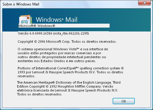 Windows Mail about box in Vista SP2